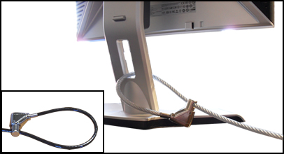 Guardian 810 lock securing a monitor using the built in hole
