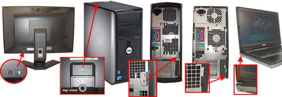 where to find security slots on laptops, computers, and monitors