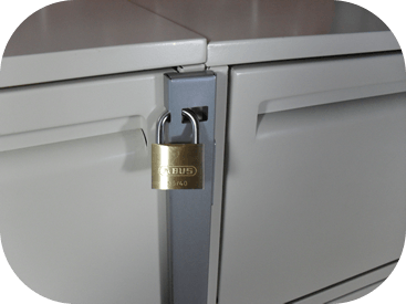 file cabinet secured with file cabinet locking bar