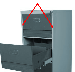 file cabinet showing required side strip necessary to attach file bars