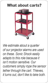 projector secured to a cart using Sonic Shock alarm
