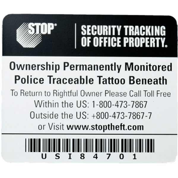 Stop Security Plate Laptop Recovery Asset Tracking Labels