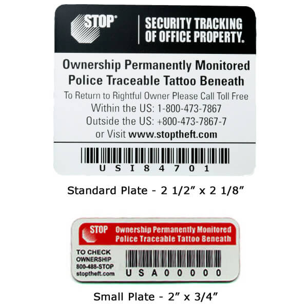 STOP Security Plate, Laptop Recovery, Asset Tracking Labels