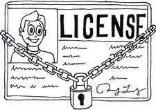 line drawing of license with padlock and chain around it