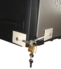 printer paper tray locked with a refrigerator lock